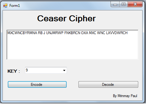 Caesar cipher encoded