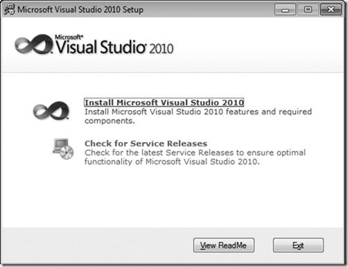 Microsoft Visual Studio 2010 Setup Window