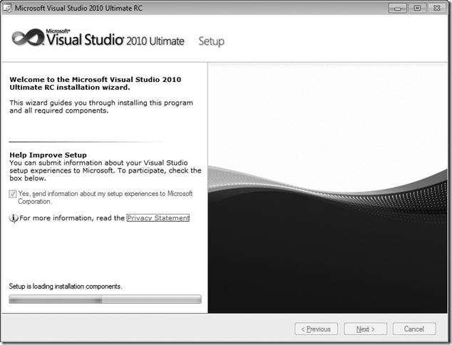 Microsoft Visual Studio Setup Welcome Window