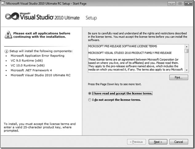Microsoft Visual Studio 2010 Setup Licensing window