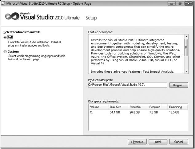 Microsoft Visual Studio 2010 Setup customization window
