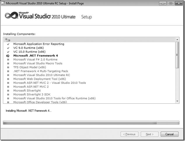 Microsoft Visual Studio 2010 Setup progress window