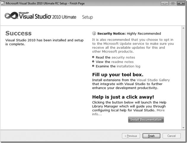 Microsoft Visual Studio 2010 Setup Success Window