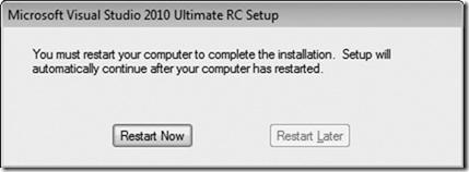 Microsoft Visual Studio 2010 Setup Restart window