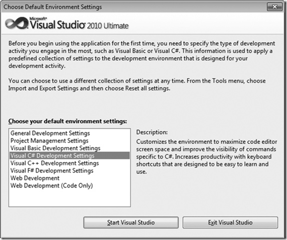 Microsoft Visual Studio 2010 Default Environment Settings window