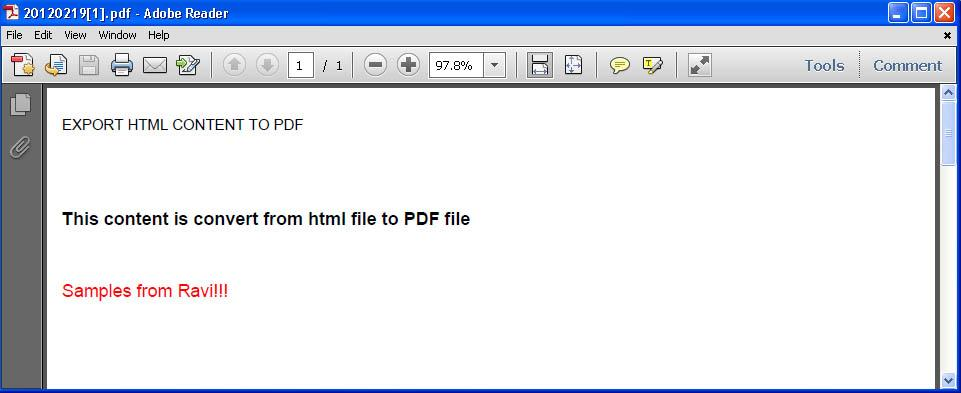 Generate PDF documents from a HTML page using ASP.NET