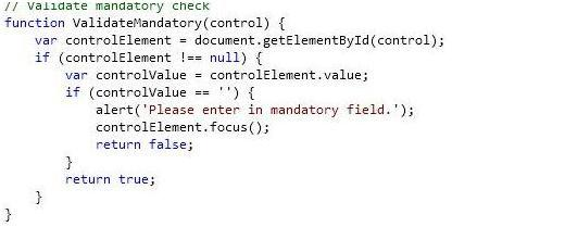 3. Validate mandatory check