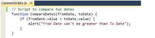 4. Script to compare two dates(From Date and To Date)