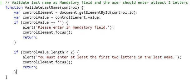 9. Validate last name as Mandatory field and the user should enter at-least 2 letters