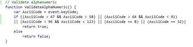 10. Validate alphanumeric