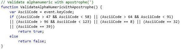 11. Validate alphanumeric with apostrophe(