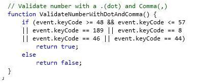 13. Validate number with a .(dot) and Comma(,)