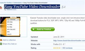 You tube downoader plug in for Mozila Firefox