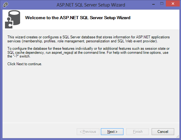 Configuring SQL Server for ASP.NET-2