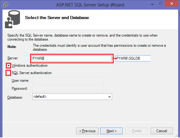 Configuring SQL Server for ASP.NET-4