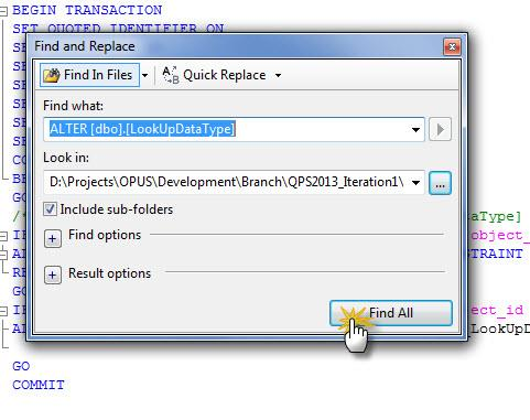 how to search efficiently in SQL Server Management Studio