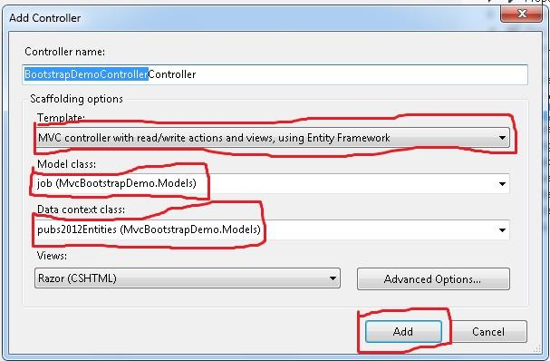 Mvc controller with read/write actions and views using entity framework