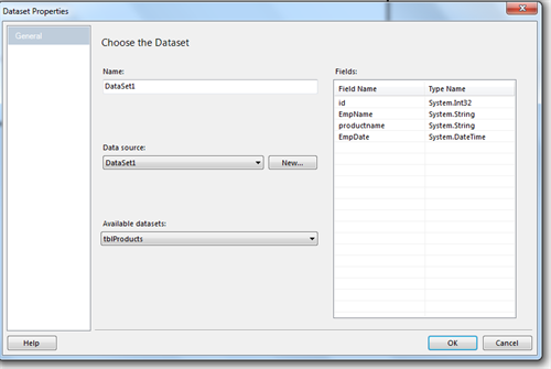 Select Dataset with Table