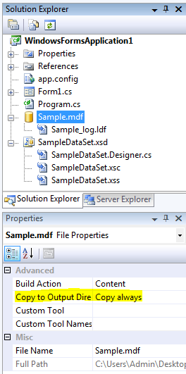 Database Properties Dock panel