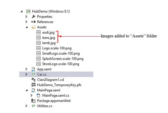 "A screen showing added images into ""Assets"" folder."