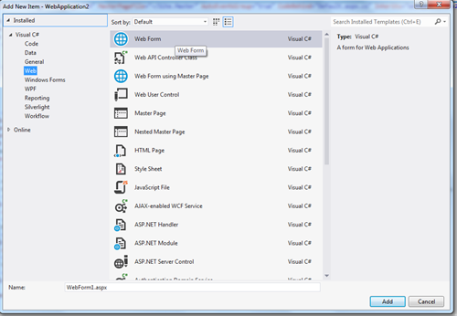 How to Add New Item in Visual studio 2012 Project